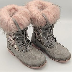 Justice Gray Sparkly Pink Furry Boots sz 2